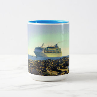 Cruising Past the Jetties Two-Tone Coffee Mug