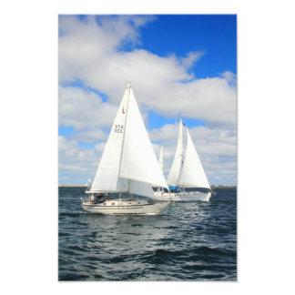 Cruising Sailboats on Cape Cod Bay Photo Print