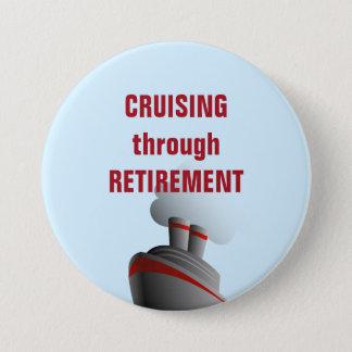 Cruising Through Retirement Blue 7.5 Cm Round Badge