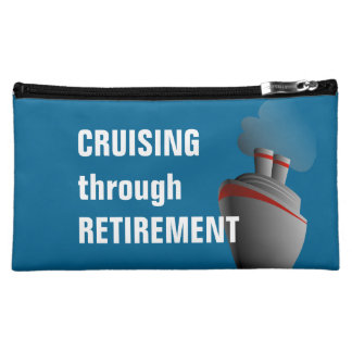 Cruising Through Retirement Blue Cosmetic Bags