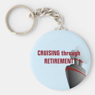Cruising Through Retirement Blue Basic Round Button Key Ring