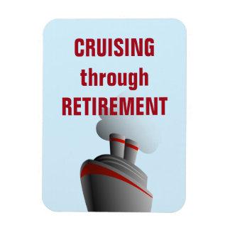 Cruising Through Retirement Blue Magnet
