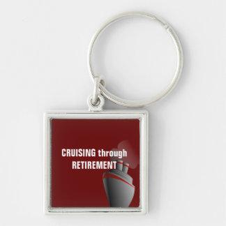 Cruising Through Retirement Dark Red Key Ring