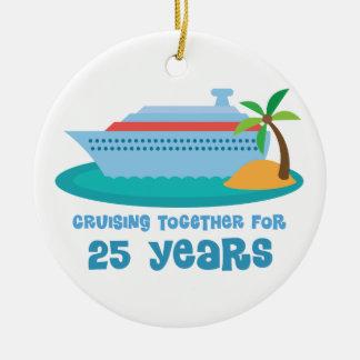 Cruising Together For 25 Years Anniversary Gift Round Ceramic Decoration