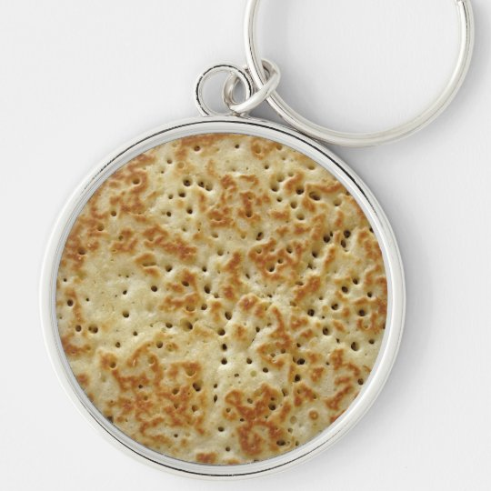 Crumpet Silver-Colored Round Key Ring