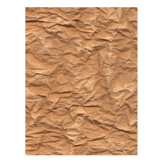 Crumpled Brown Paper Postcard