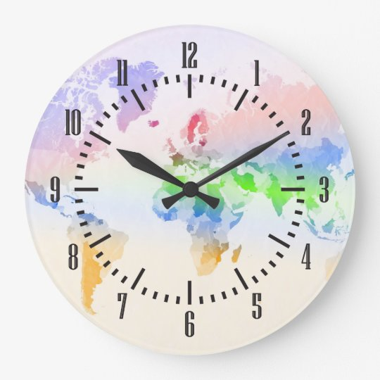 Crumpled Colourful World Map Large Clock