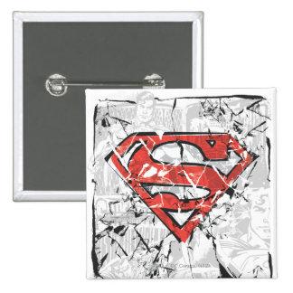 Crumpled Comic Superman Logo 15 Cm Square Badge