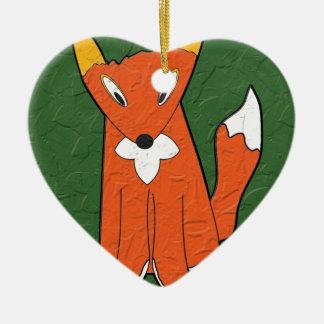 Crumpled Fox Christmas Ornament