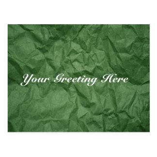 Crumpled Green Paper Texture Empty Postcard