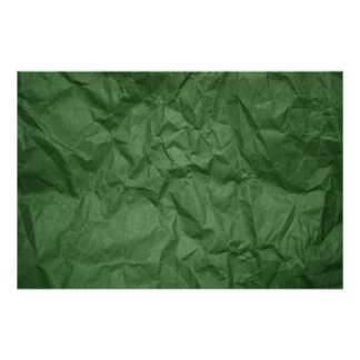 Crumpled Green Paper Texture Poster