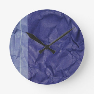 Crumpled indigo paper background design clock