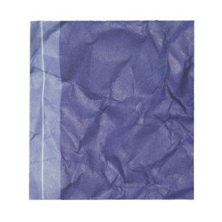 Crumpled indigo paper background design notepad