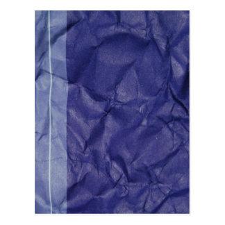 Crumpled indigo paper background design postcard