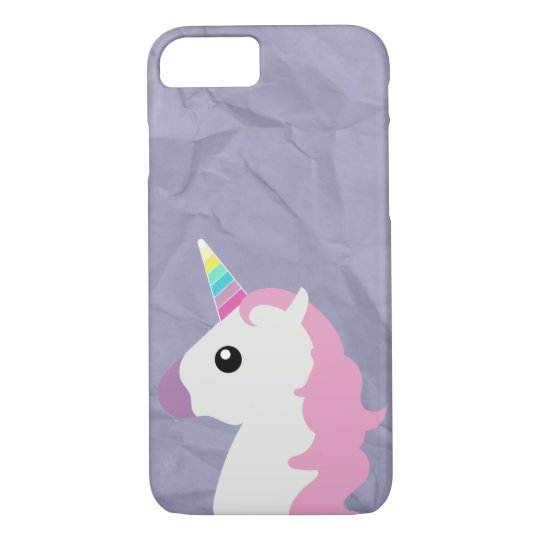 Crumpled Paper Look Unicorn Emoji iPhone Case