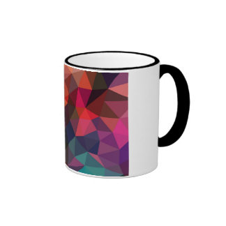 Crumpled Red Geometric Pattern Ringer Mug