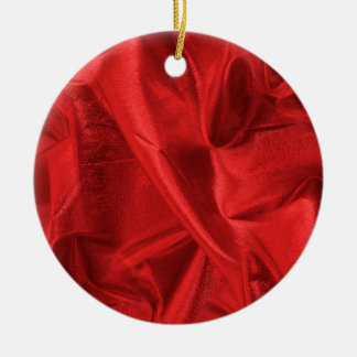 Crumpled Red Lame' Metallic Fabric Photo Christmas Ornament
