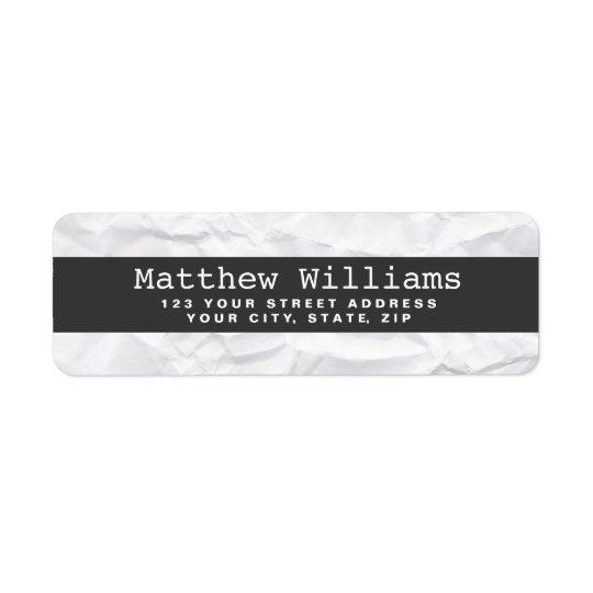 Crumpled white paper texture dark grey band blank return address label