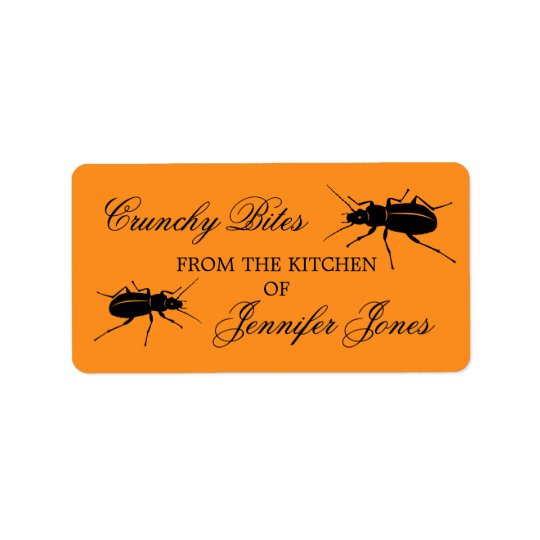 Crunchy bugs beetle Halloween kitchen label Address Label