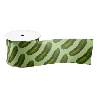 Crunchy Green Dill Pickle Pickles Foodie Ribbon Satin Ribbon