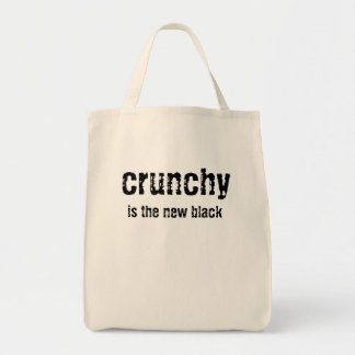 crunchy is the new black organic tote grocery tote bag