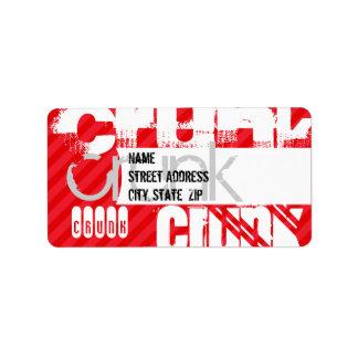 Crunk; Scarlet Red Stripes Address Label
