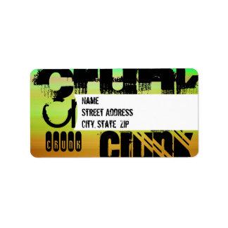 Crunk; Vibrant Green, Orange, & Yellow Address Label