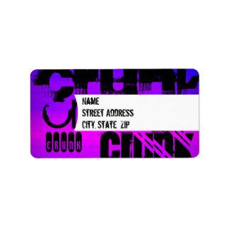 Crunk; Vibrant Violet Blue and Magenta Address Label