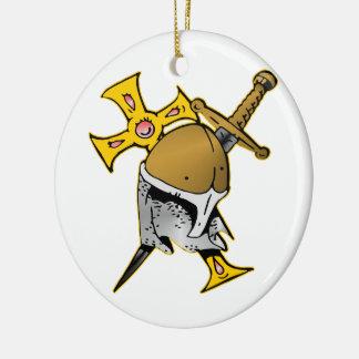 Crusader Helmet Cross & Sword Christmas Ornament