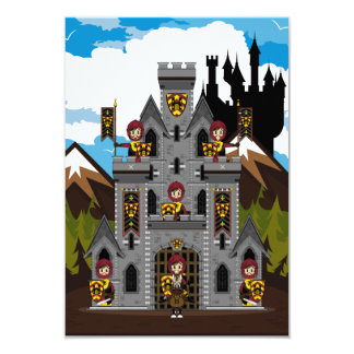 Crusader Knights and Castle RSVP Card 9 Cm X 13 Cm Invitation Card