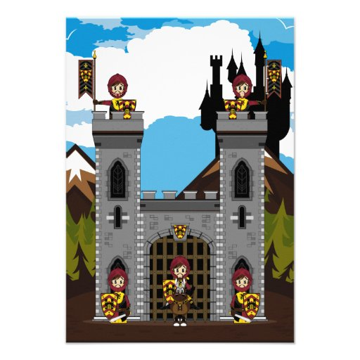 Crusader Knights and Castle RSVP Card Personalized Invite