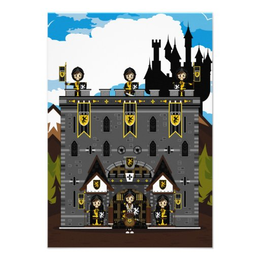 Crusader Knights and Castle RSVP Card Invitations
