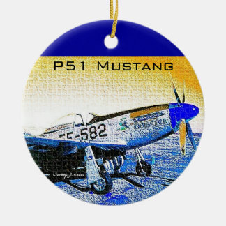 """Crusader"" P51 Mustang © 2009 S.J. Christmas Ornament"