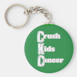 """Crush Kids Cancer"" Green Keychain"