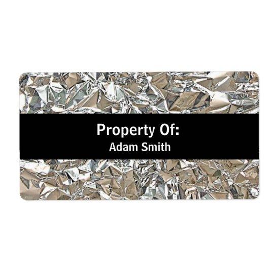 Crushed Aluminium Shipping Label