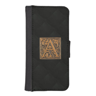 CRUSHED BLACK VELVET WITH BRASS A PHONE WALLET CASE