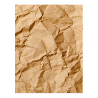 Crushed Wrinkled Brown Paper Grunge Background Postcard