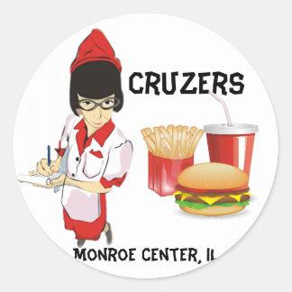 Cruzers Retro Waitress Round Sticker