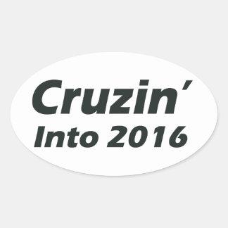 Cruzin' into 2016 - Black and White Oval Sticker