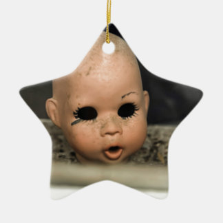 Cry Baby Vintage Doll Head Dirty Window Christmas Ornament