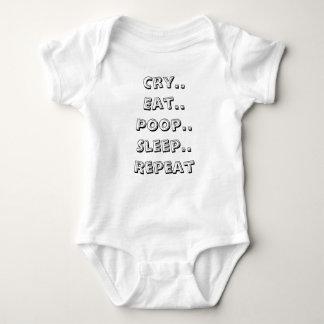 Cry Eat Poop Sleep repeat Baby Bodysuit