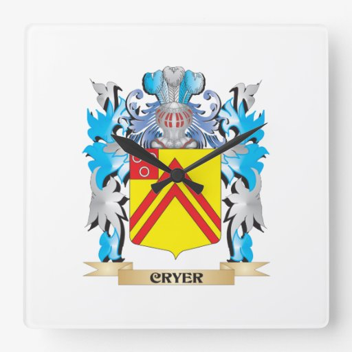 Cryer- Coat of Arms - Family Crest Clock