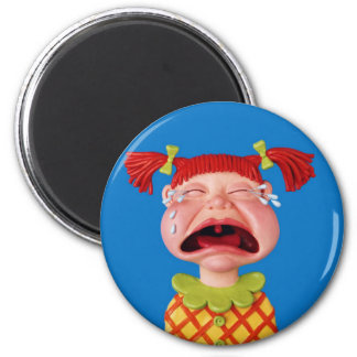 Cryin Girl 6 Cm Round Magnet