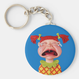 Cryin Girl Basic Round Button Key Ring