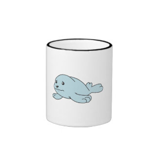 Crying Aqua Blue Sea Lion Seal Pup Mug Button Pin