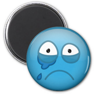 Crying Blue 6 Cm Round Magnet