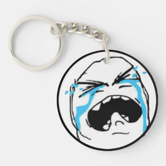 Crying Comic Meme Single-Sided Round Acrylic Key Ring