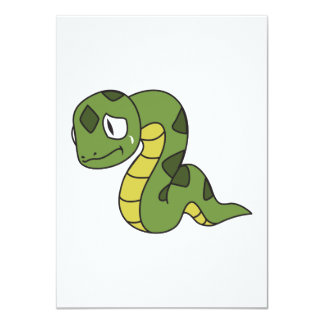 """Crying Cute Green Snake Invitation Card Stamps 4.5"""" X 6.25"""" Invitation Card"""