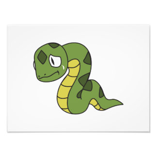 Crying Cute Green Snake Invitation Card Stamps Photo Print