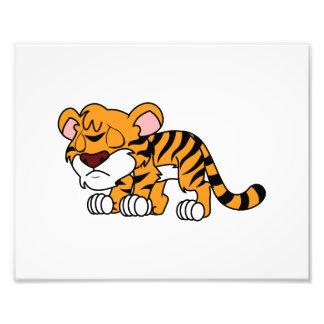 Crying Cute Orange Baby Tiger Cub Photo Print